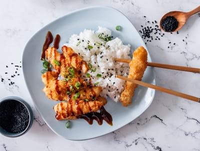 Курица тонкацу с рисом
