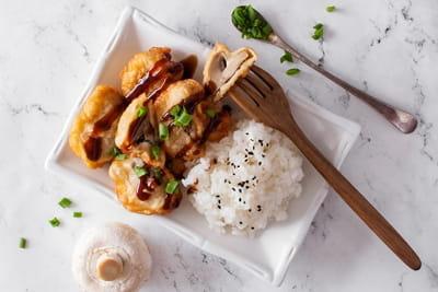 Шампиньоны тонкацу с рисом