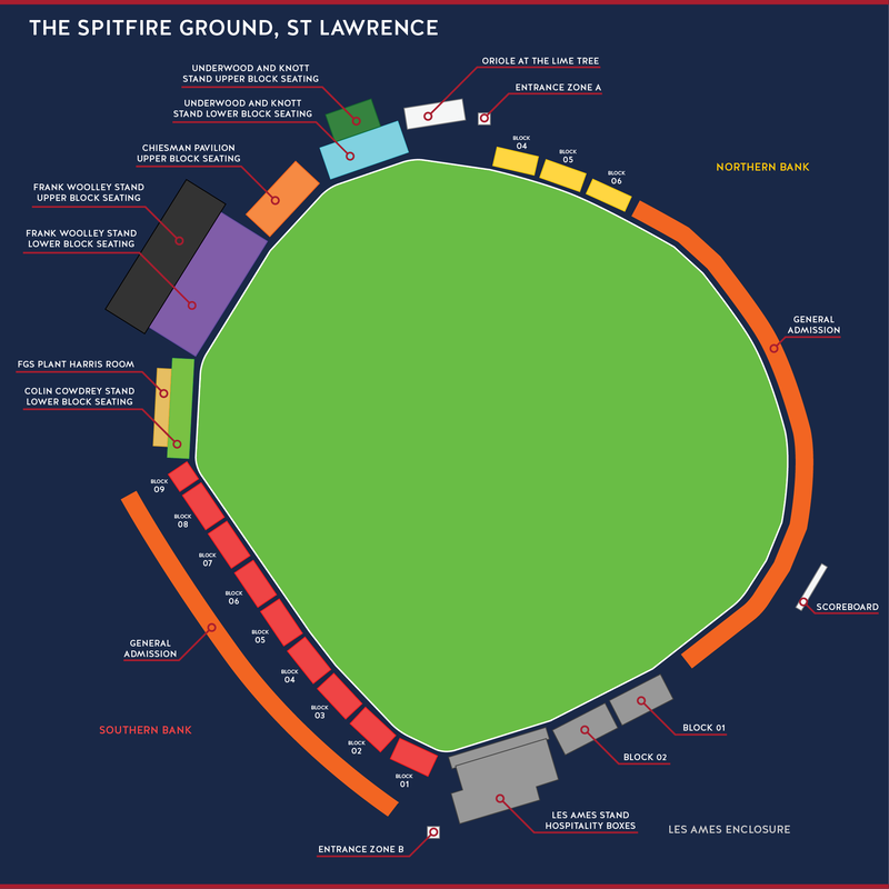 Seat plan (The Spitfire Ground, St Lawrence)