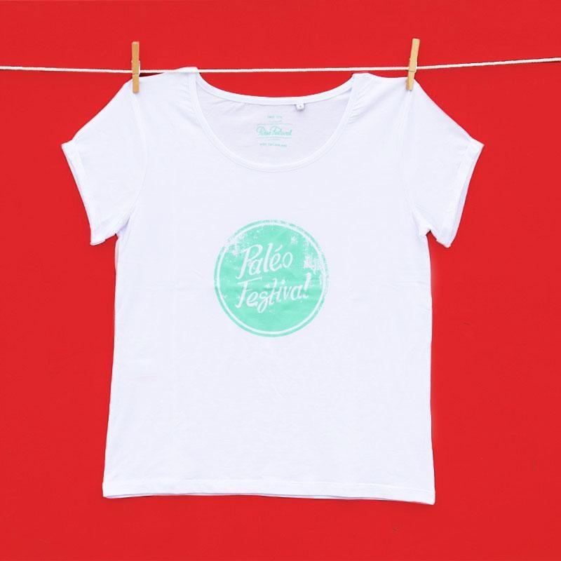T-shirt Women white Paléo aqua