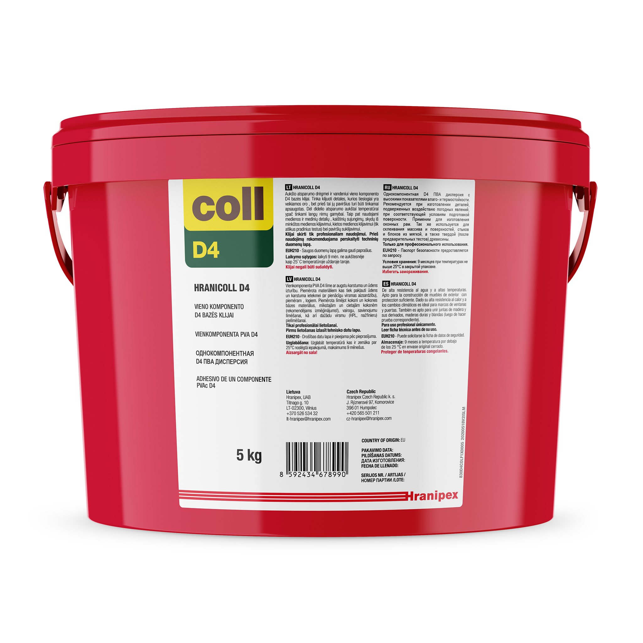 HRANICOLL D4 - PVAc Adhesivo dispersión 5 kg