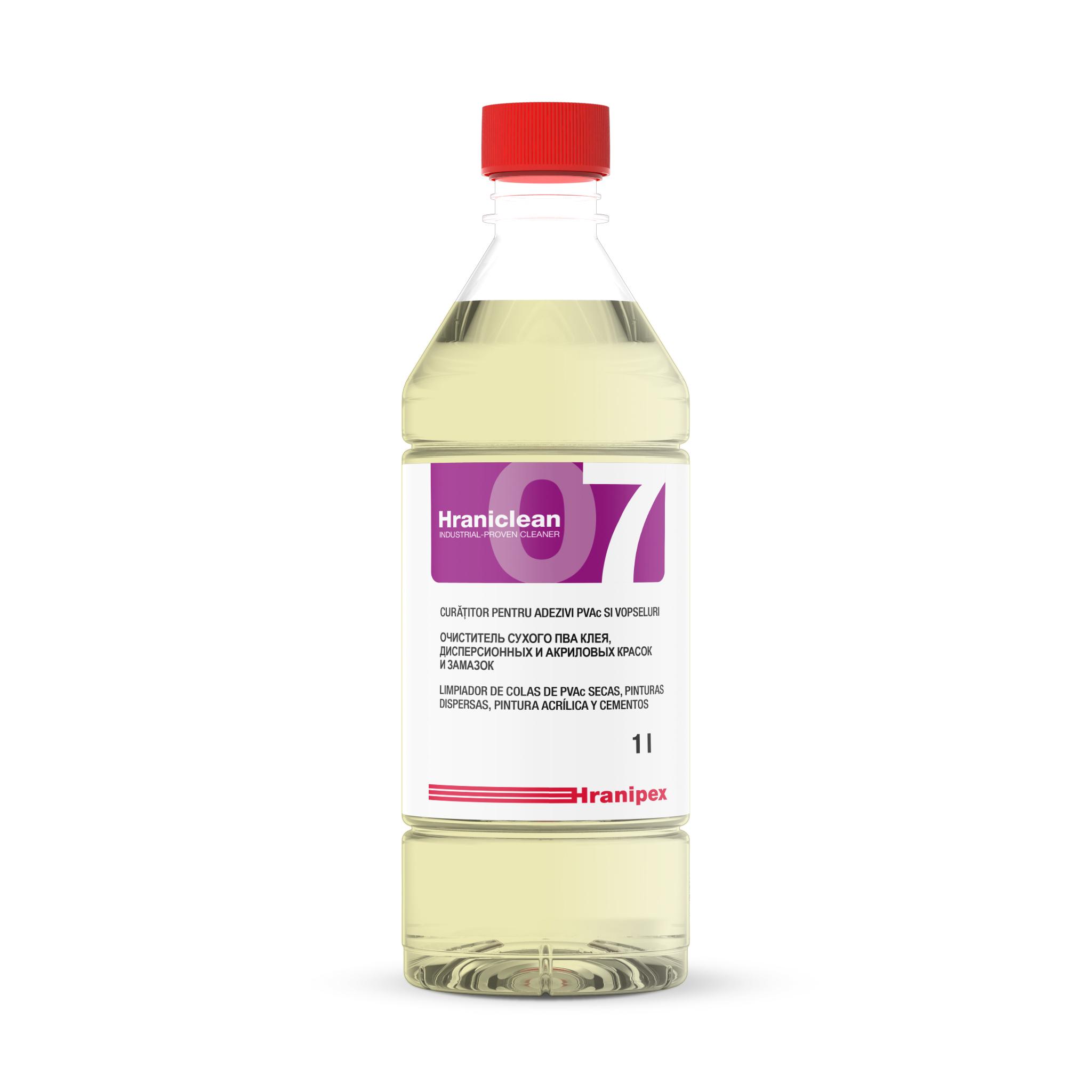 HRANICLEAN 07 Agente limpiador concentrado de adhesivo PVAc y pinturas. 1 l