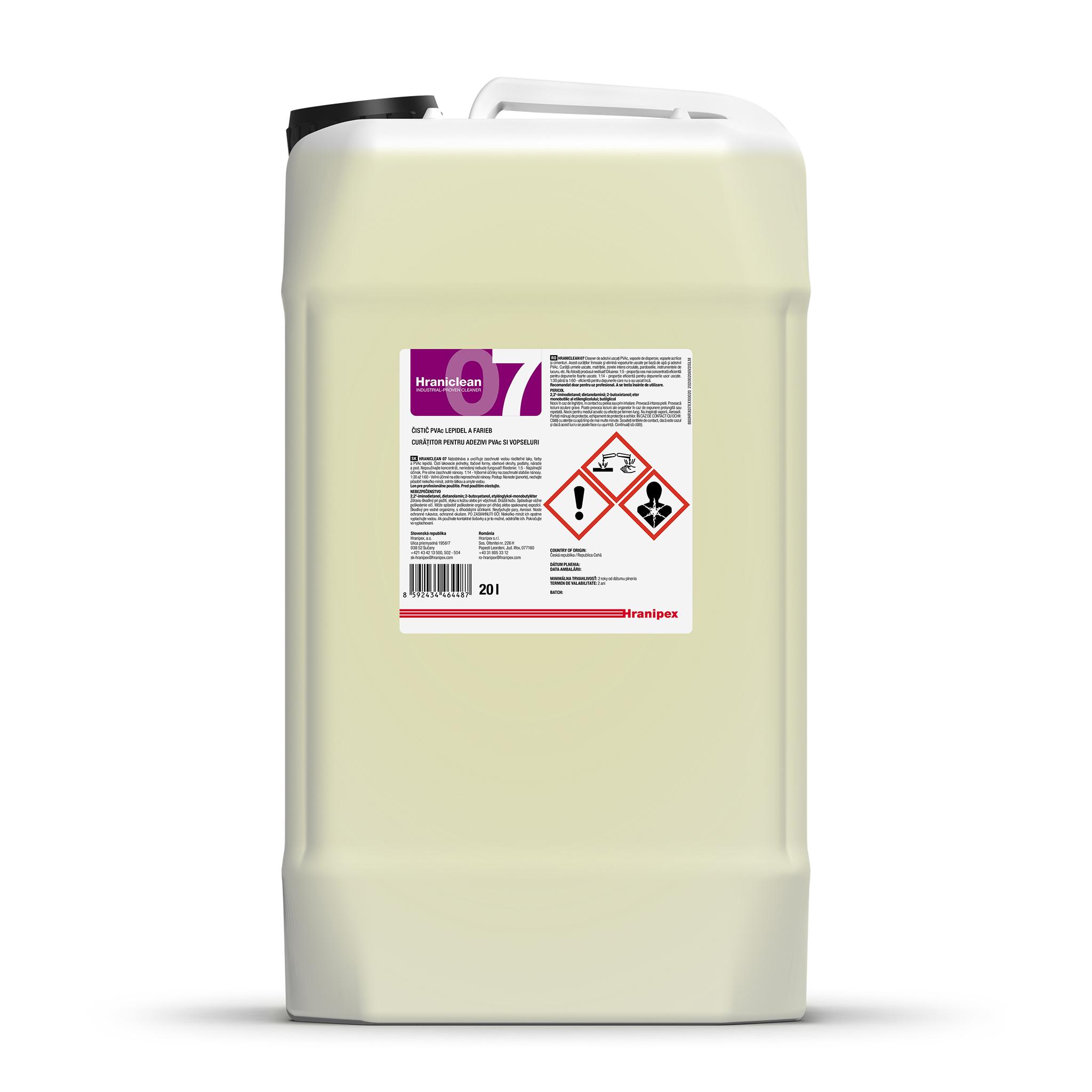 HRANICLEAN 07 Agente limpiador concentrado de adhesivo PVAc y pinturas. 20 l