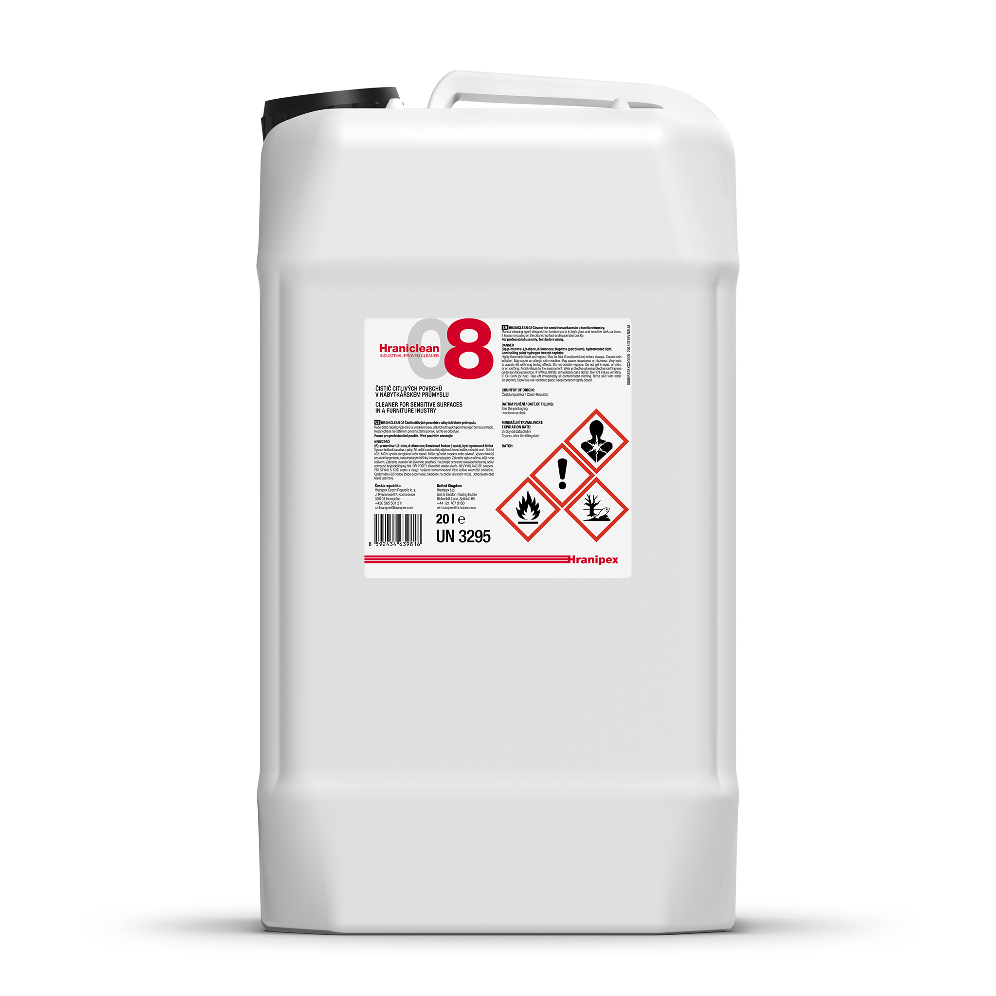 HRANICLEAN 08 Cleaning Agent for Sensitive Surfaces 20 l