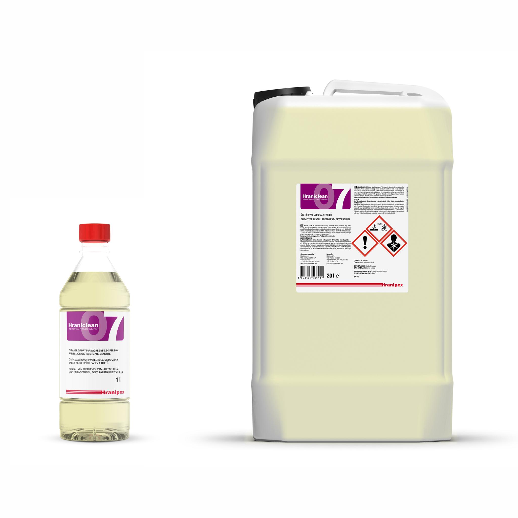 HRANICLEAN 07 Agente limpiador concentrado de adhesivo PVAc y pinturas.