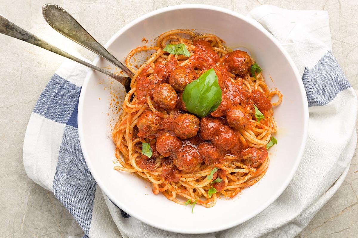 Spaghetti con polpettine di vitello
