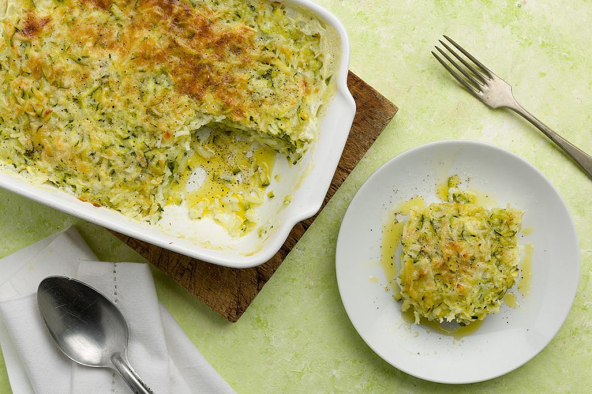 Gratin di riso aromatico, zucchine e parmigiano