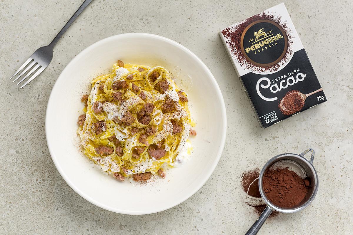 Tagliatelle con salsiccia, ricotta e Cacao Extra Dark Perugina®