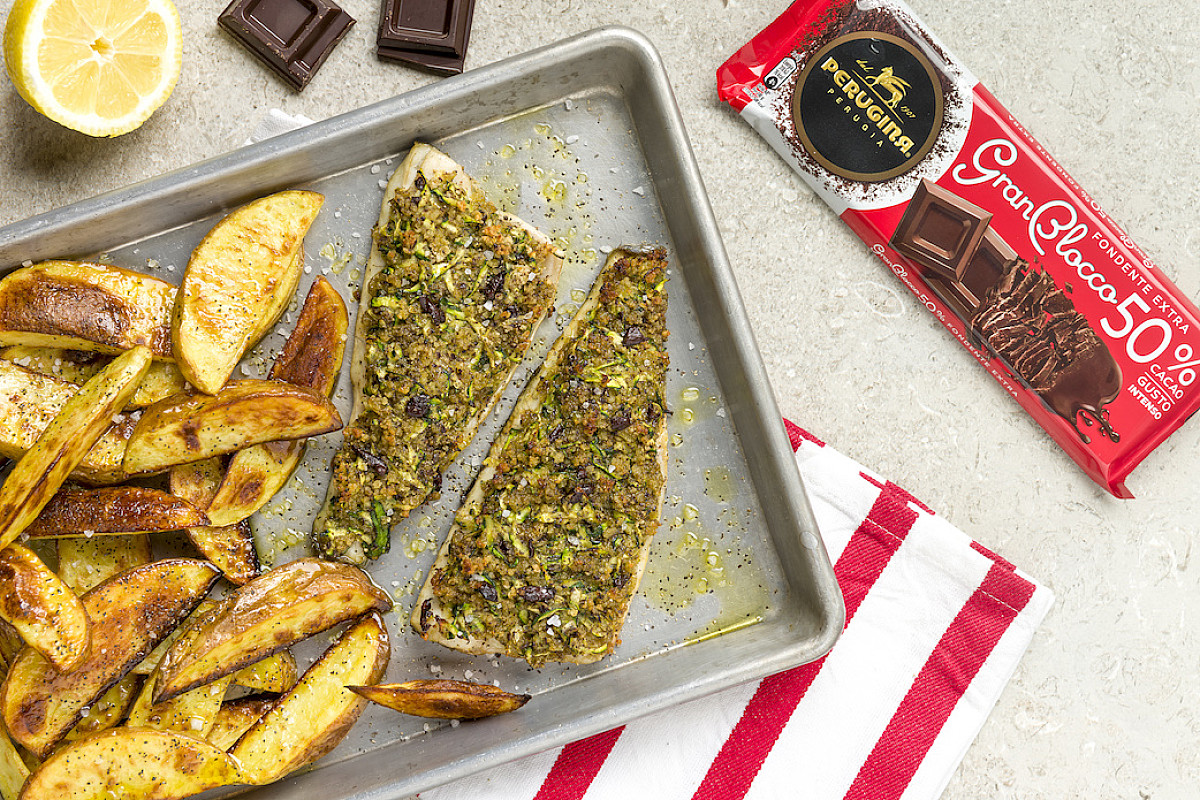 Branzino con panatura di zucchine e Cioccolato GranBlocco Fondente Extra Perugina®