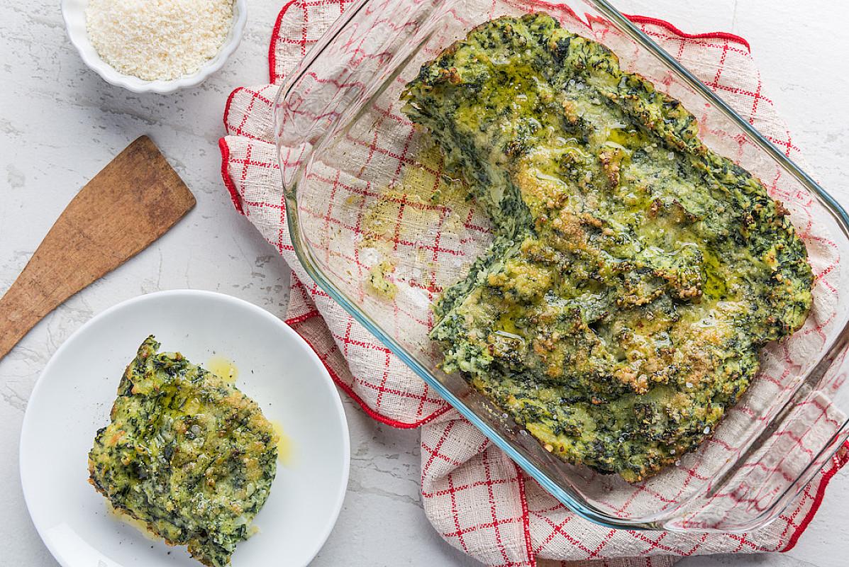 Tortino di spinaci, ricotta e gran campidano
