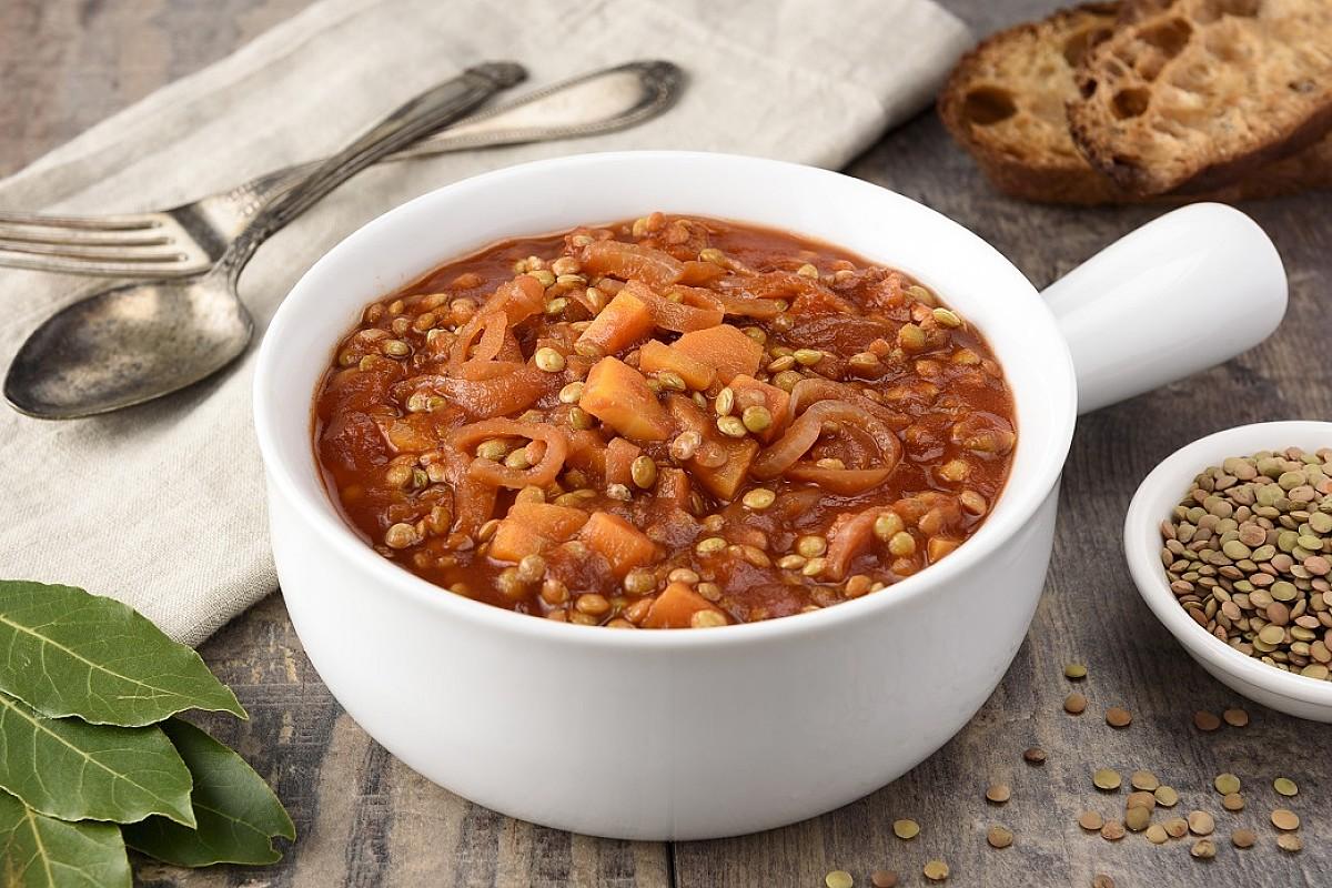Zuppa di lenticchie di Colfiorito con 'nduja