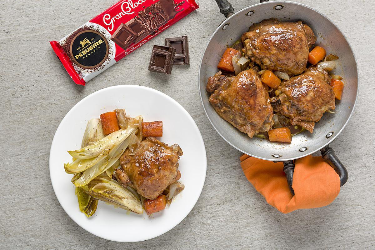 Sovracosce di pollo bio in umido al cioccolato Perugina® GranBlocco Fondente Extra 50%