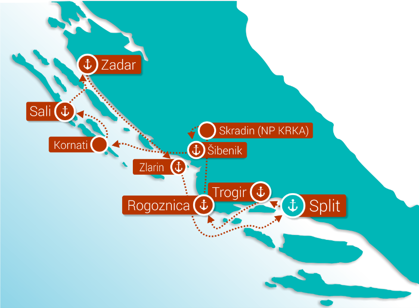 Map for Central Croatia cruise - Deluxe