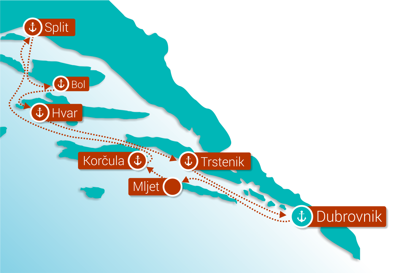 Map for Dubrovnik Deluxe Discovery Cruise (Deluxe Superior Ships)