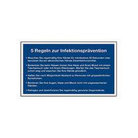 """Gebotsschild """"5 Regeln zur Infektionsprävention"""""""