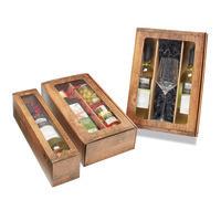 Flaschen-Geschenkkarton mit Sichtfenster, Holzoptik