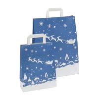 Papiertragetasche Weihnachten, blau