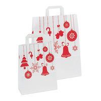 Papiertragetasche Weihnachten, weiß