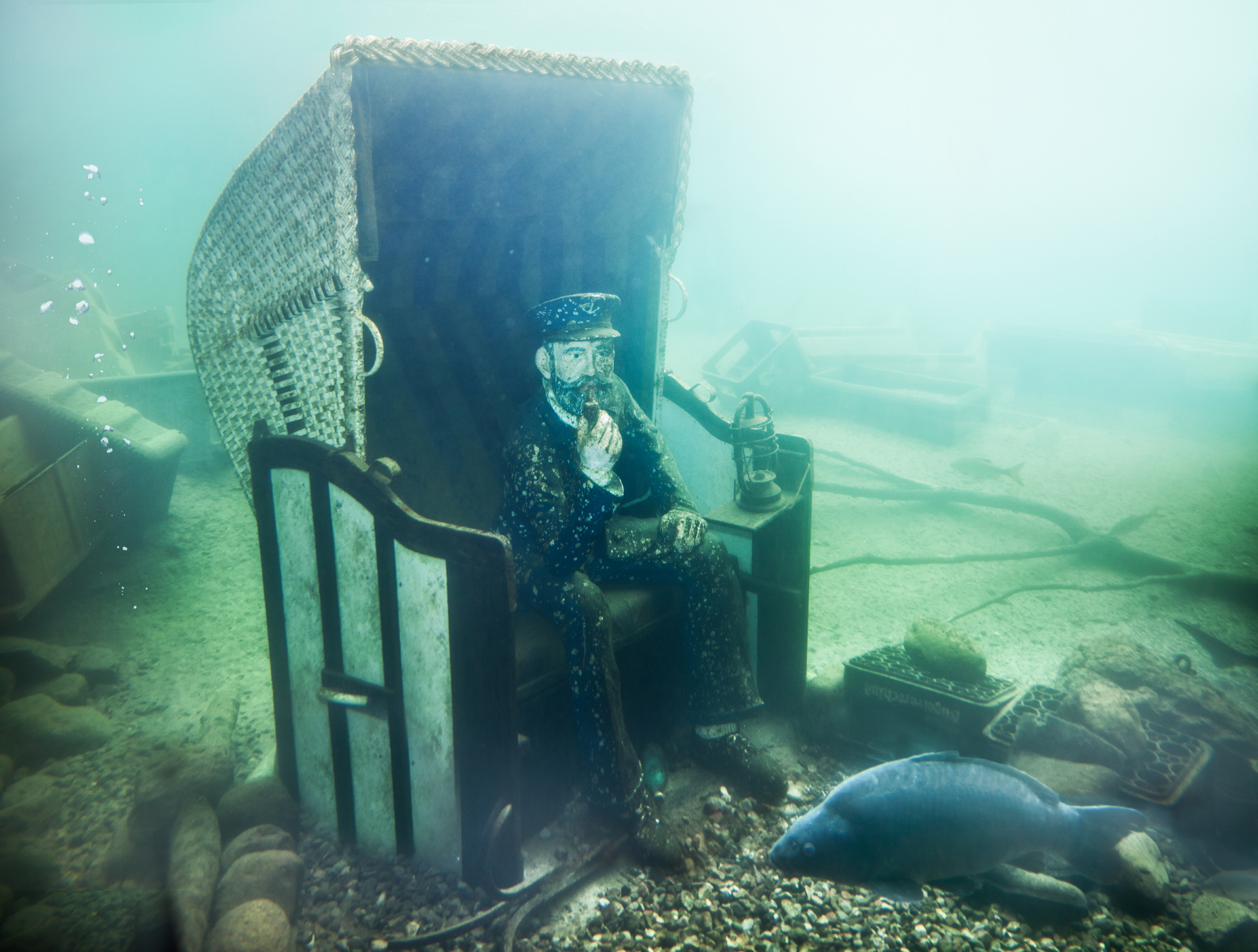 Seemann unter Wasser im Erlebnis-Aquarium Rövershagen