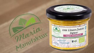No 03: Rote Linsen, Zwiebel & Ingwer Zwiebelerzeugnis Linsenerzeugnis Gemüseaufstrich  von Maria Manufaktur in Auerbach
