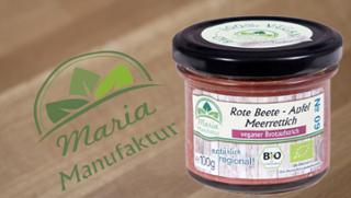 No 09: Rote Beete, Apfel & Meerrettich Gemüseaufstrich Tafelmeerrettich Rote Bete-Erzeugnis  von Maria Manufaktur in Auerbach