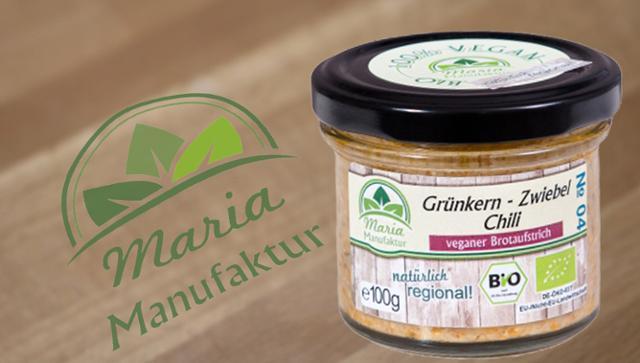 No 04: Grünkern, Zwiebel & Chili Getreideaufstrich Gemüseaufstrich  von Maria Manufaktur in Auerbach