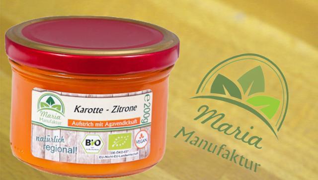 Fruchtaufstrich Karotte-Zitrone Karottenerzeugnis Fruchtaufstrich  von Maria Manufaktur in Auerbach