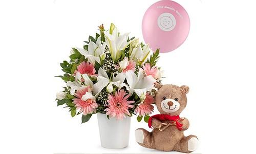 Seramik Vazoda Kız Bebek Aranjmanı - Artvin Çiçekçi