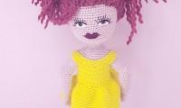 Ami003 çümen saçlı amigurumi organik el örmesi doğal oyuncak bebek