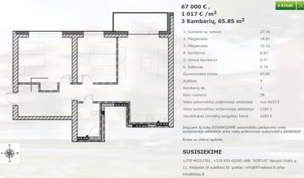 Parduodamas 3 kambario butas Palangoje-3