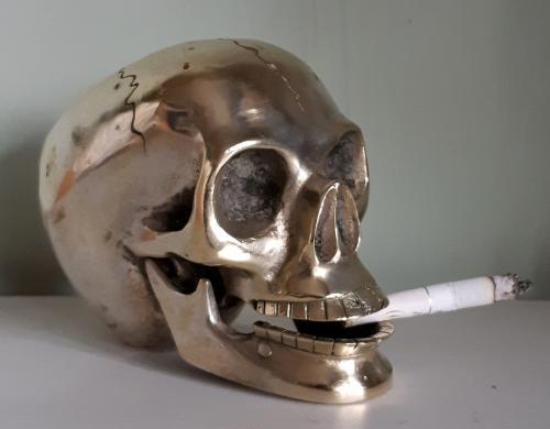 Įdomi bronzinė stipriai sidabruota KAUKOLĖ-0