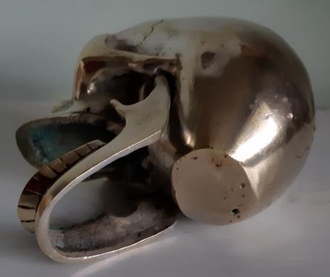 Įdomi bronzinė stipriai sidabruota KAUKOLĖ-3