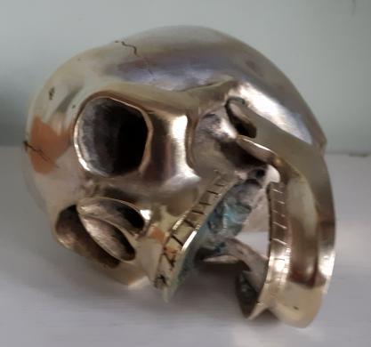 Įdomi bronzinė stipriai sidabruota KAUKOLĖ-4