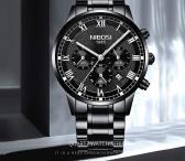 NIBOSI patrauklus juodas 316L plieno laikrodis firminėje dėžutėje-0