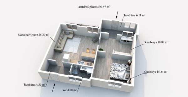 Elektrėnų sav., Vievio m., Vilniaus g., 3 kambarių butas-6