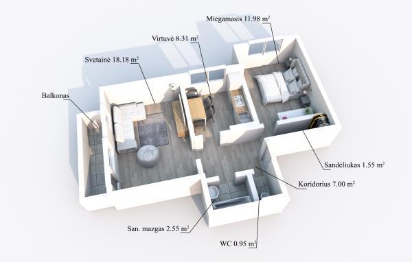 Elektrėnų m., Saulės g., 2 kambarių butas-5