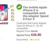 4ių Sim card adapteris iPhone X telefonui -0
