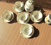 Porceliano paauksuotas 5 žmonėms kavos servisas be cukrainės-0