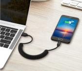Spyruoklinis USB kabelis Tipe-C ir MicroUSB-0