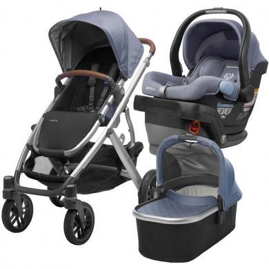"""2019 m. """"UPPAbaby Vista"""" vežimėlio ir """"Mesa"""" automobilių sėdynių komplektavimo kelionių sistema-0"""