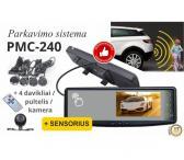 Parkavimo sistema galinio vaizdo veidrodėlyje PMC-240+ 4 davkikliai + kamera-0