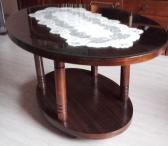 Ovalios formos žurnalinis staliukas su stalviršio stiklu ir ratukais-0