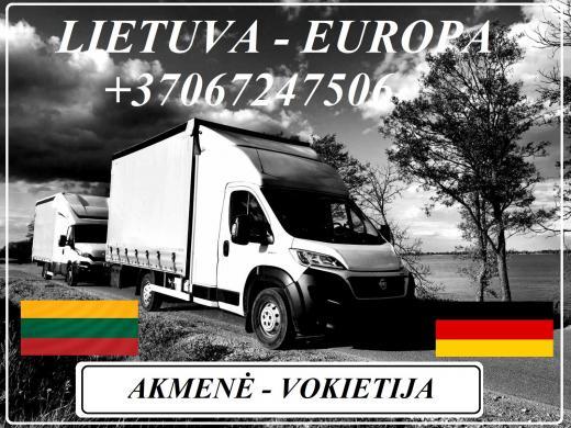 Lietuva - Akmenė - Vokietija - Lietuva ! Galime parvežti jūsų krovinius, baldus, buitine technika, motociklus, kubilus, pirtis, įrengimus, medžiagas ir t.t.  *Krovinių pervežimas tentiniais mikroautobusais / kietašoniais mikroautobusais / tentu 92m3 / 100-2