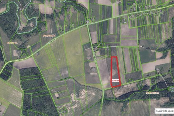 Parduodamas Burbaičių kaime šalia kelio gražus 3,98 ha žemės sklypas-0