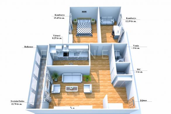 Parduodamas 3 kambarių butas Miško g., Kretingoje-6