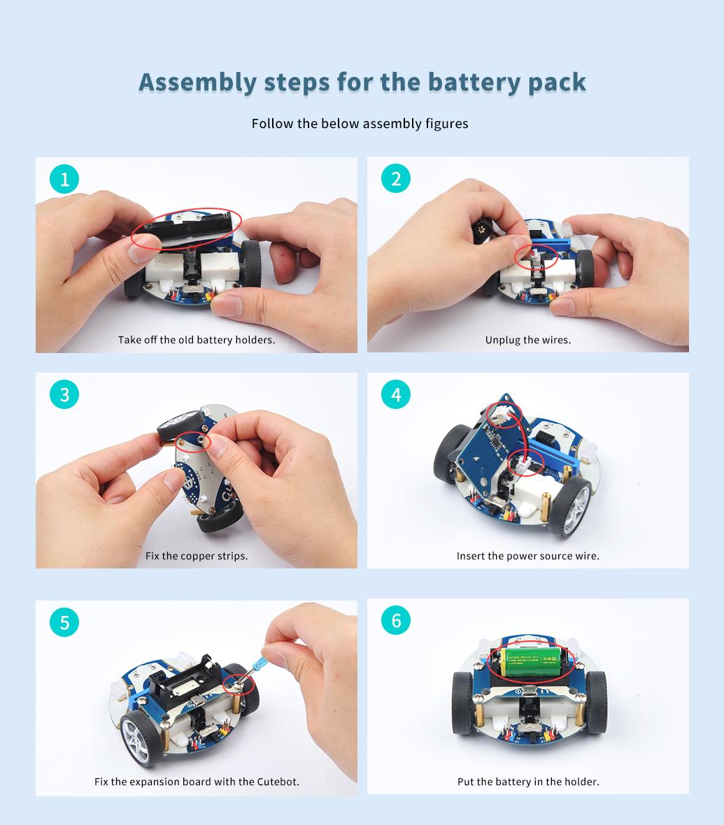 montaje batería cutebot