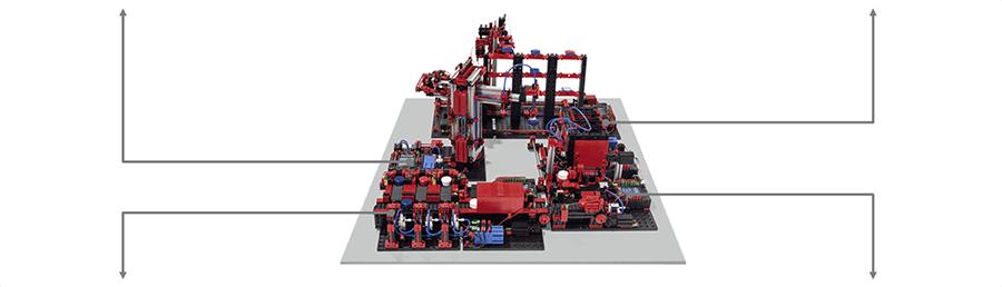 Simulación de fábrica automática fischertechnik a 9V en RO-BOTICA