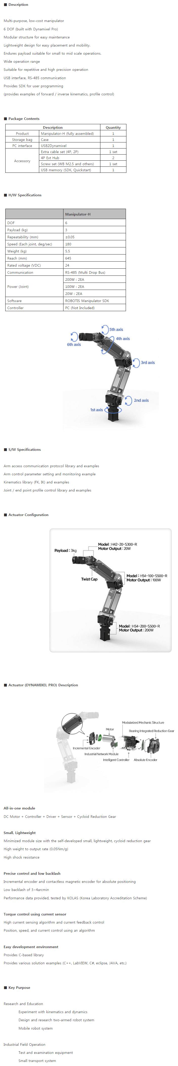 Descripción manipulador H de ROBOTIS con 6 grados de libertad