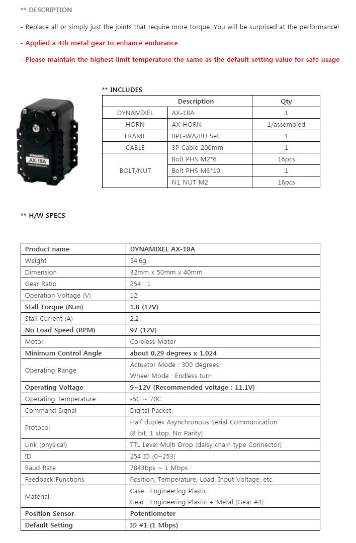 Descripción actuador DYNAMIXEL AX-18A de ROBOTIS