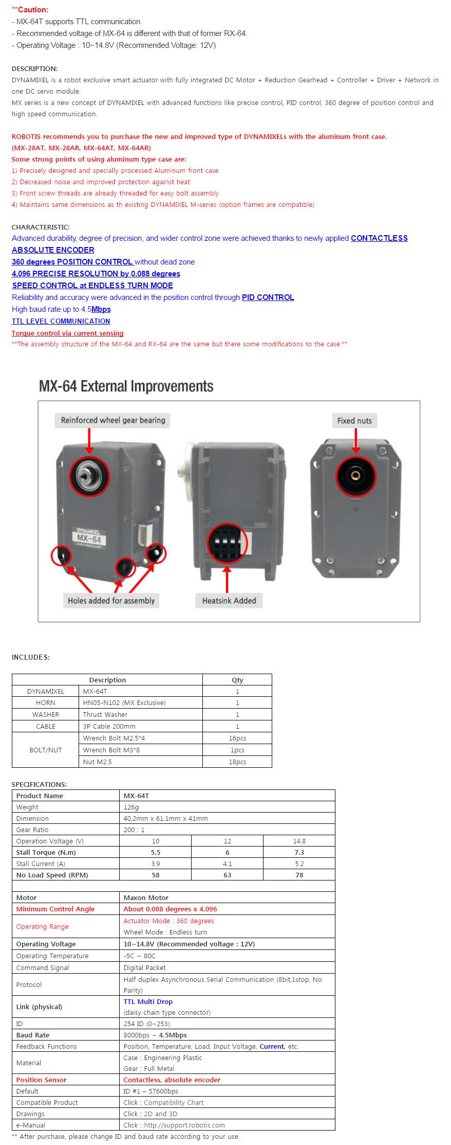Descripción ROBOTIS DYNAMIXEL MX-64T